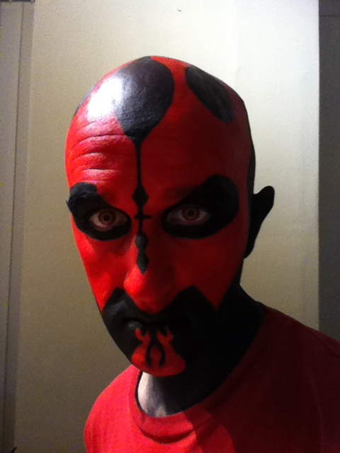 Darth Maul Makeup - Stage 5 Nose line and tear drops on top of head