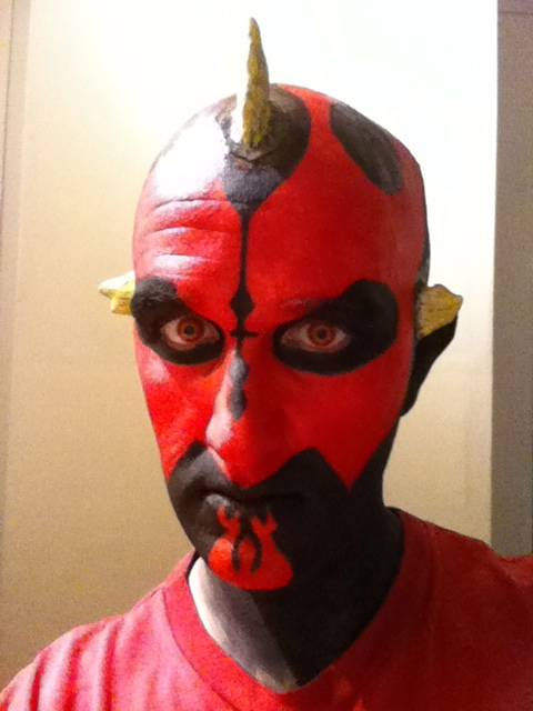 Darth Maul Makeup - Stage 5 Start sticking horns on