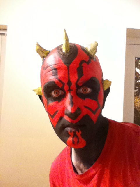 Darth Maul Makeup - Stage 5 Stick all remaining horns