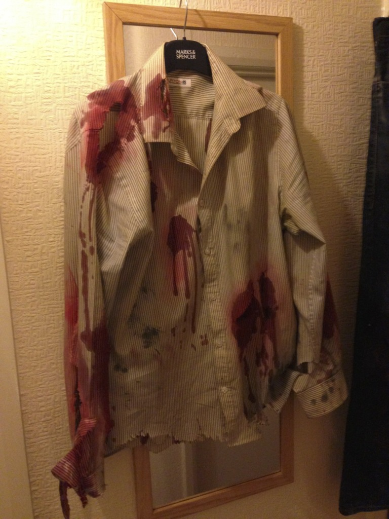 Zombie Costume Shirt with DIY Blood