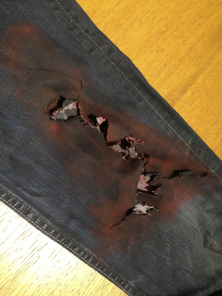 Zombie Costume Jeans - Ripped with Red paint and shoe polish