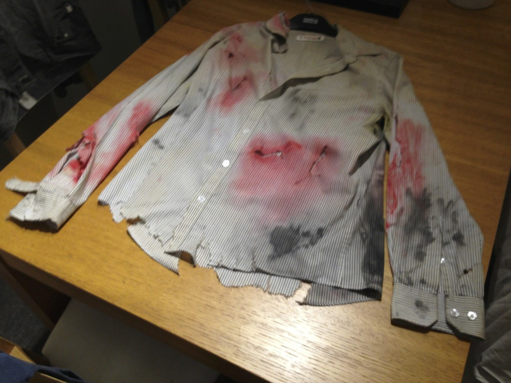 Zombie Costume Shirt - Ripped with Red paint and shoe polish